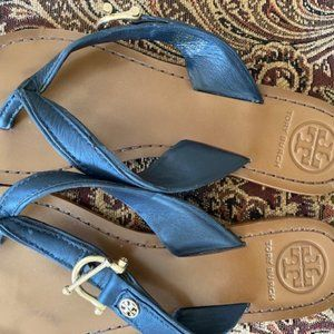 Tory Burch Navy Leather Sandals - Size 7